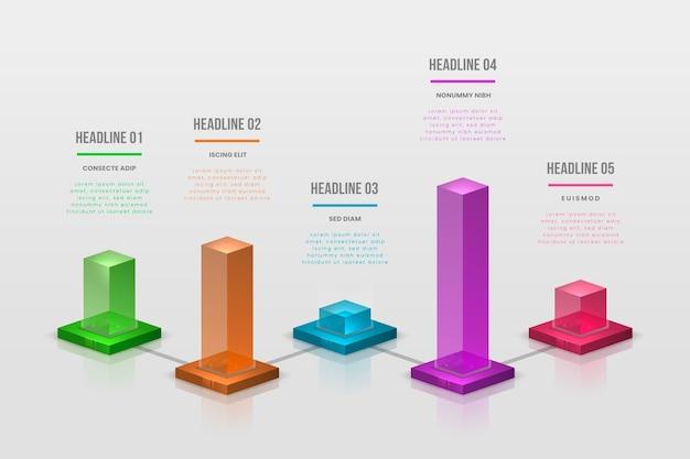 Красочные бары инфографики Бесплатные векторы