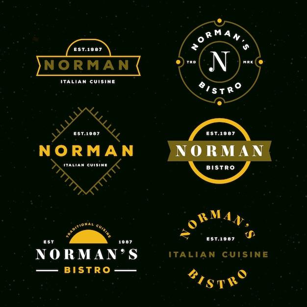 Ресторан ретро логотип коллекции Бесплатные векторы