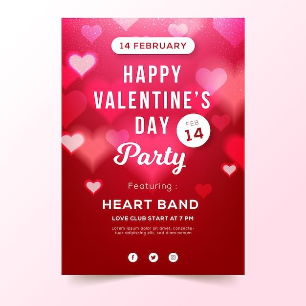ぼやけたバレンタインパーティーチラシテンプレート 無料ベクター