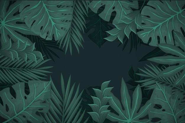 Реалистичные темные тропические листья фон Бесплатные векторы