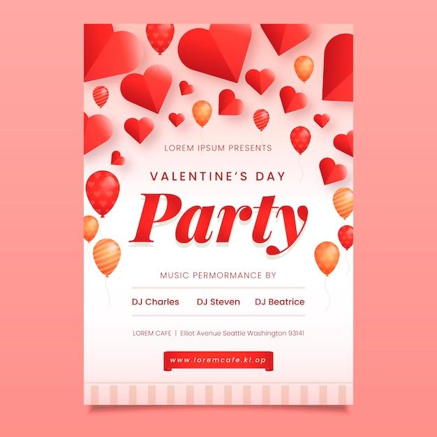 フラットなデザインのバレンタインパーティーポスターテンプレート 無料ベクター