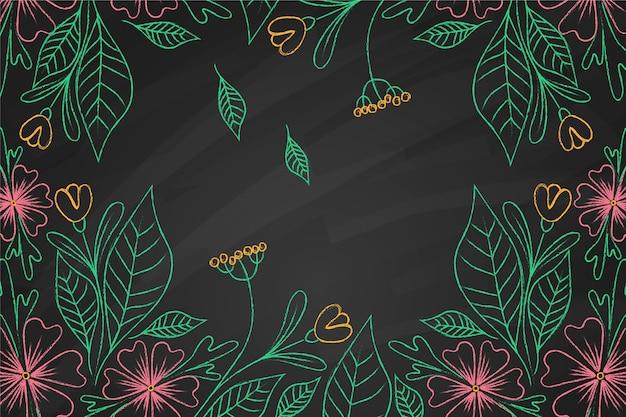黒板背景に熱帯の花 無料ベクター