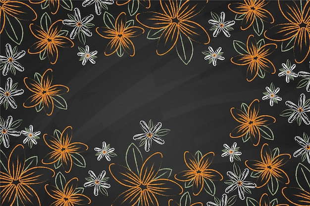 Золотые цветы на фоне доски Бесплатные векторы