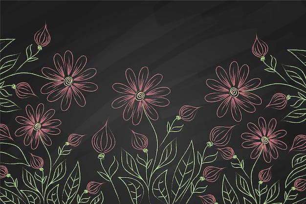 黒板背景に紫の花 無料ベクター