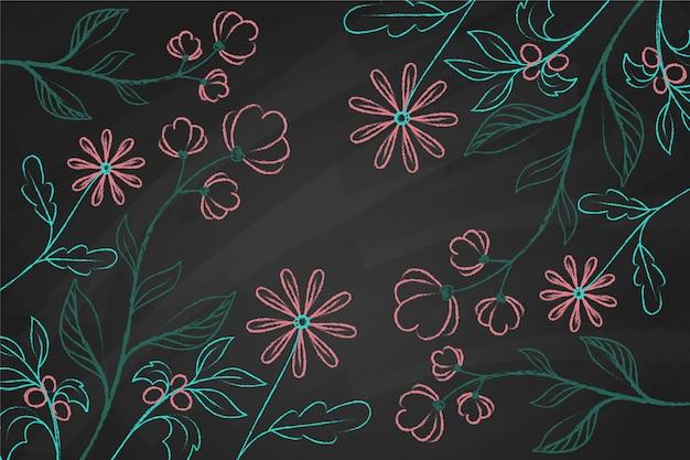 黒板背景に手描き落書きの花 無料ベクター