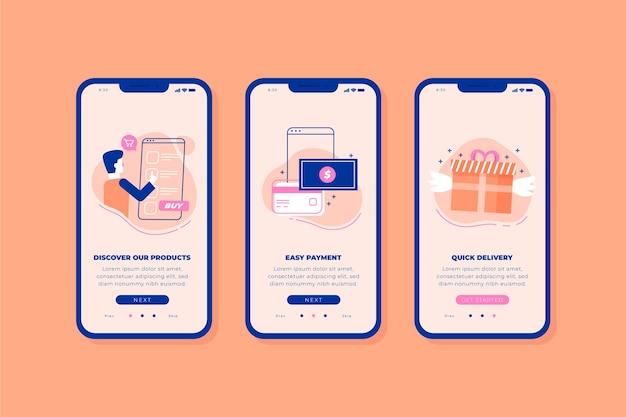 Купить онлайн экраны приложения Бесплатные векторы