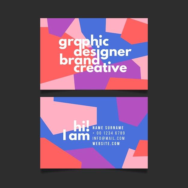 グラフィックデザイナーブランドの創造的な名刺テンプレート 無料ベクター