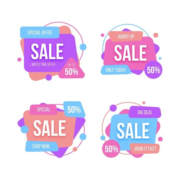 Коллекция градиента красочные значки продажи Бесплатные векторы