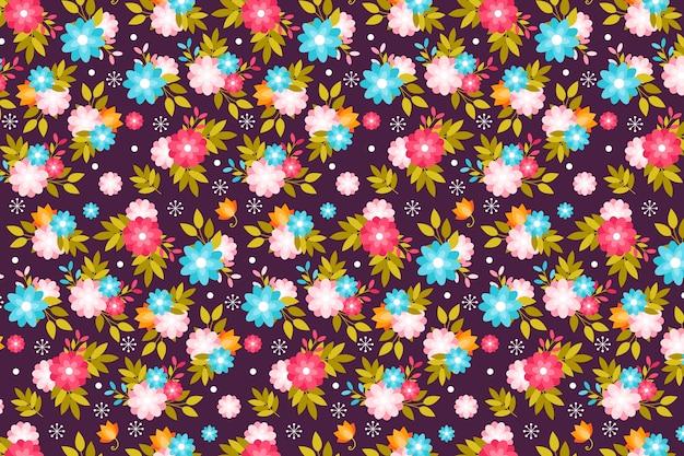 春のかわいい花の頭が変な印刷の背景 無料ベクター