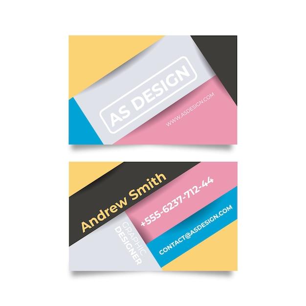 Прикольная визитка графического дизайнера в цветах Бесплатные векторы