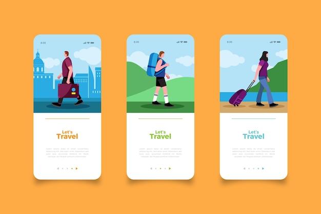 Путешествие по миру экраны мобильных приложений Бесплатные векторы