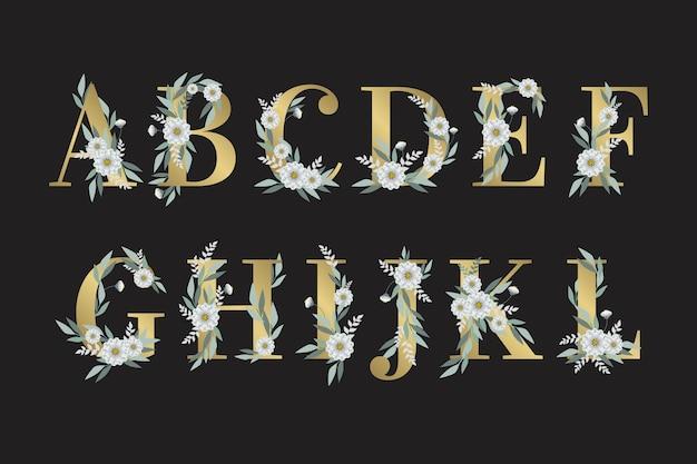 Листья и цветы на буквы алфавита Бесплатные векторы