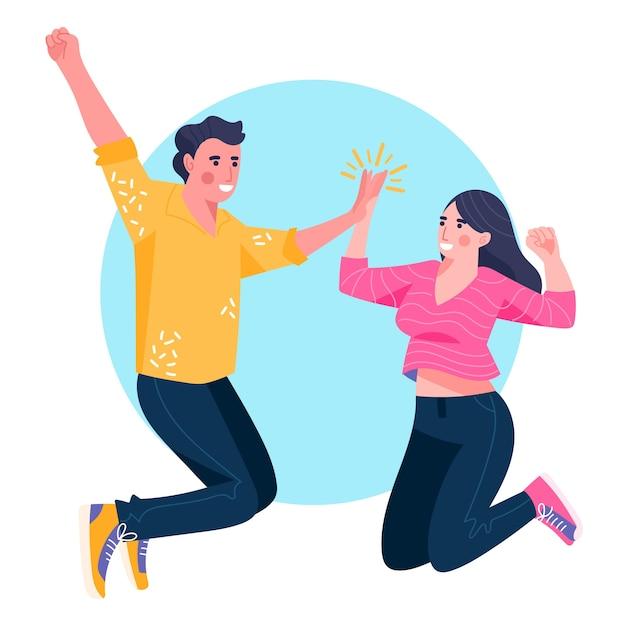 Женщина и мужчина дают высокие пять Бесплатные векторы