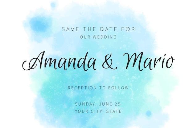 Каллиграфическое свадебное приглашение с голубыми тонами Бесплатные векторы
