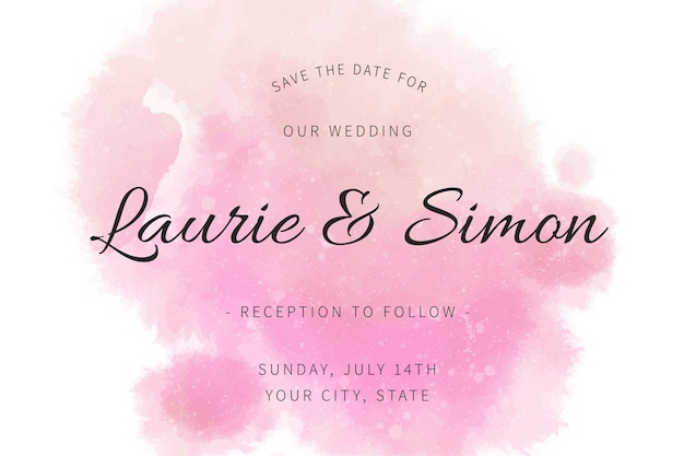 Каллиграфическое свадебное приглашение с акварельными пятнами Бесплатные векторы