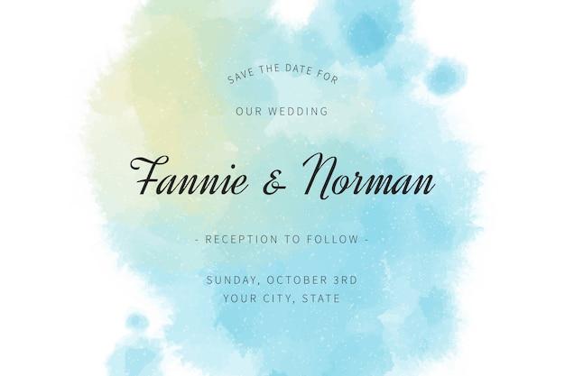 結婚式の招待状、グラデーションの水彩ブルーの汚れ 無料ベクター