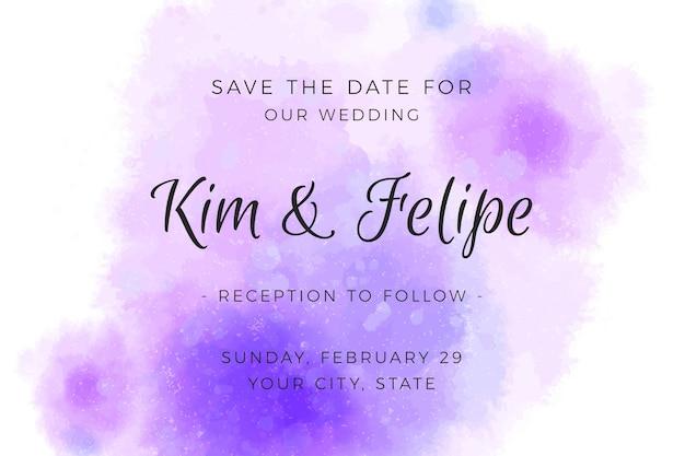 Свадебные приглашения с градиентными акварельными фиолетовыми пятнами Бесплатные векторы
