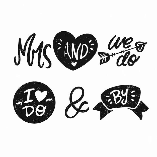 Амперсанды и лозунги на белом фоне Бесплатные векторы