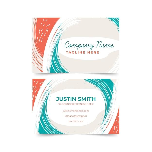 Абстрактный шаблон визитной карточки с пятнами пастельных тонов Бесплатные векторы