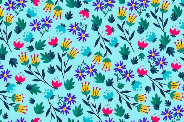 青色の背景に花柄 無料ベクター