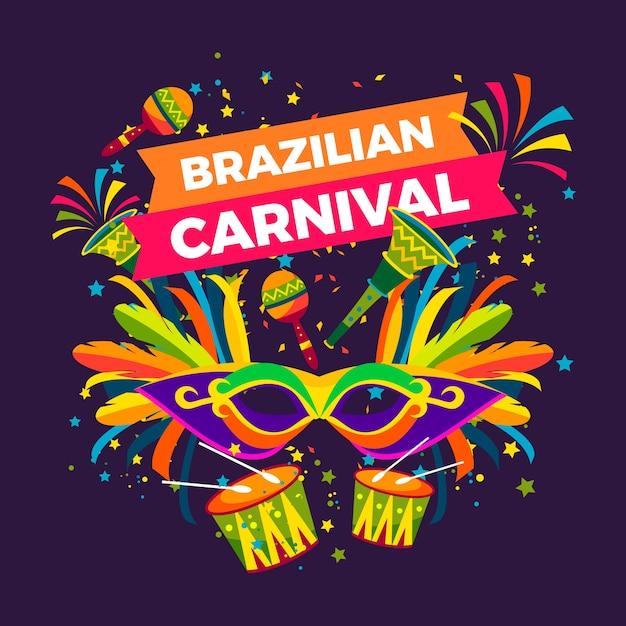 フラットなデザインのブラジルのカーニバルのコンセプト 無料ベクター