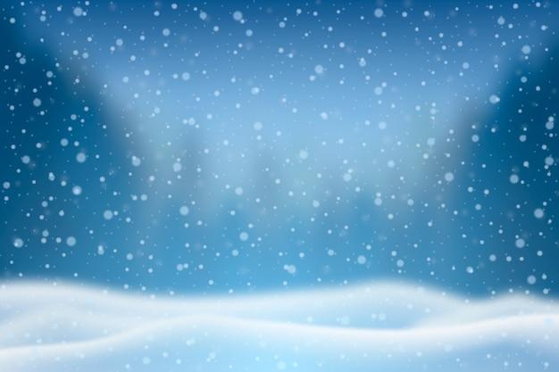 現実的な降雪の背景 無料ベクター