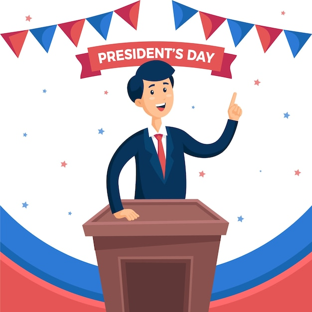 幸せな大統領の日のフラットなデザイン 無料ベクター