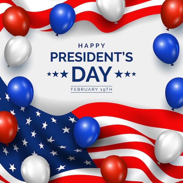 風船の現実的なスタイルで大統領の日 無料ベクター