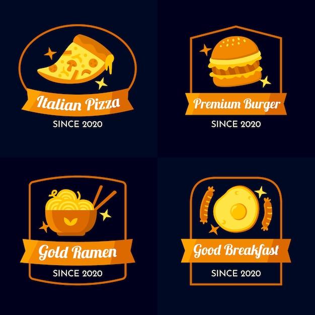 ゴールデンデザインレストランのロゴコレクション 無料ベクター