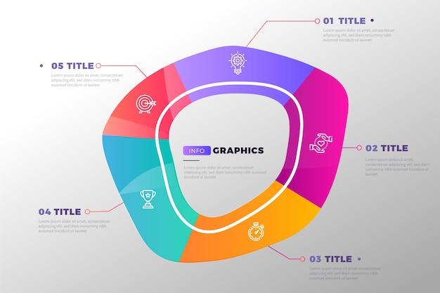グラデーションデザインの抽象的な形のインフォグラフィック 無料ベクター