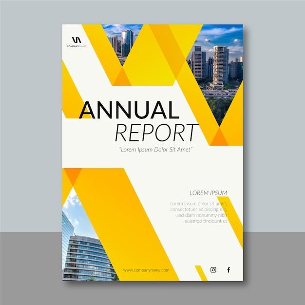 抽象的なデザインの年次報告書テンプレート 無料ベクター