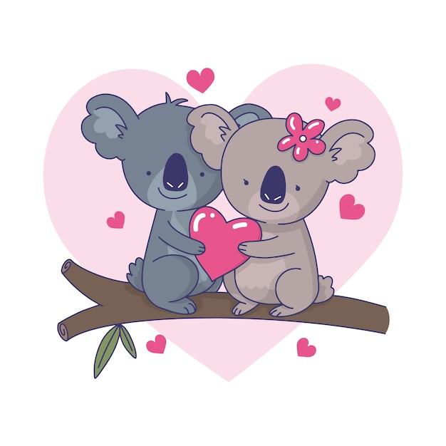 Милая пара коала иллюстрации Бесплатные векторы