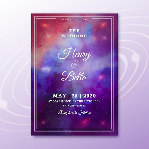 Приглашение на свадьбу акварель галактика Бесплатные векторы
