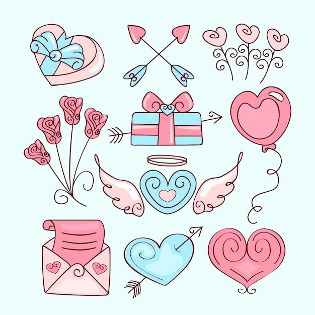 手描きのバレンタインのかわいい要素のコレクション 無料ベクター