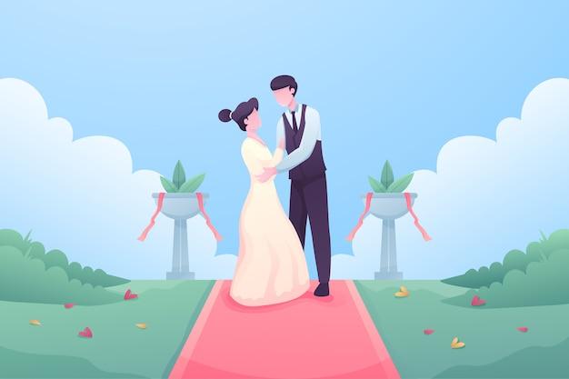 Жених и невеста выходят замуж Бесплатные векторы