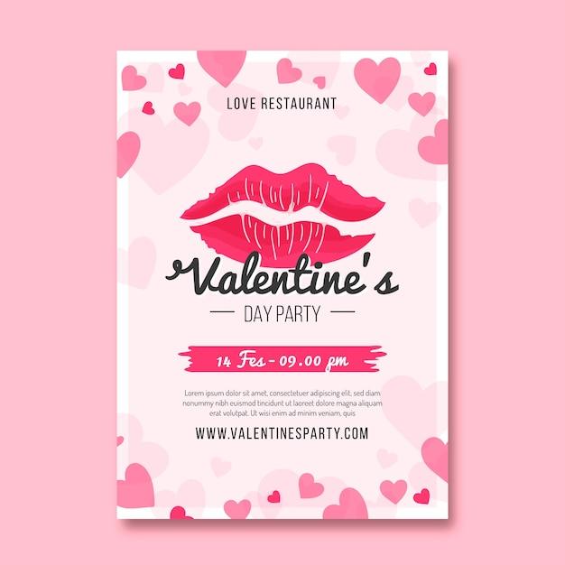 フラットなデザインのバレンタインパーティーフライヤーテンプレート 無料ベクター