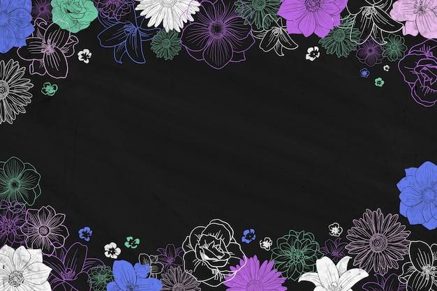 黒板と花のフレームの背景をチョークします。 無料ベクター
