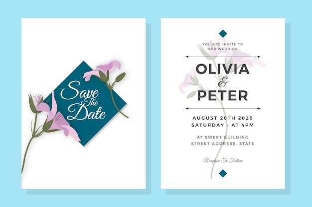紫の花のエレガントな結婚式の招待状のテンプレート 無料ベクター