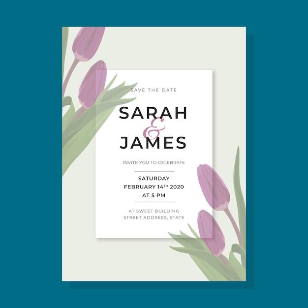 Приглашение на свадьбу с цветами большого тюльпана Бесплатные векторы