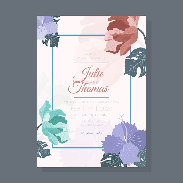 Цветочное свадебное приглашение с листьями Бесплатные векторы