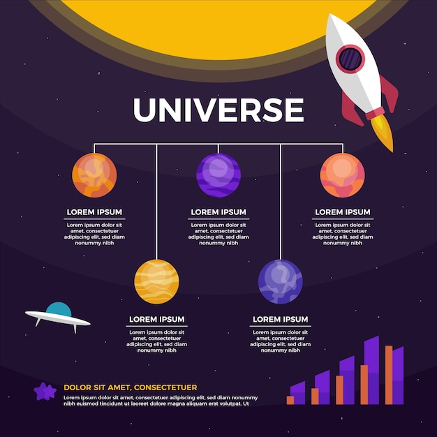 Инфографика плоской вселенной с земным кораблем и инопланетным кораблем Бесплатные векторы