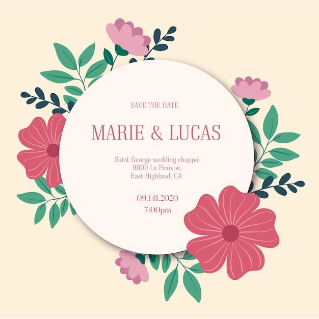 Цветочный шаблон приглашения на свадьбу Бесплатные векторы