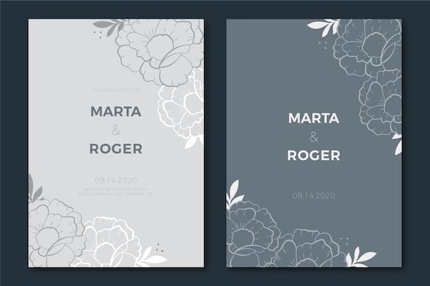 Элегантный шаблон свадебного приглашения в голубых тонах Бесплатные векторы