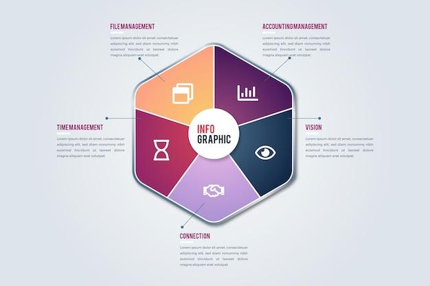 Градиент абстрактная форма инфографики Бесплатные векторы