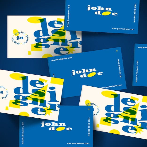 Шаблон визитной карточки в синий и желтый Бесплатные векторы