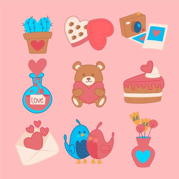 甘いカップケーキとオブジェクトバレンタイン要素セット 無料ベクター