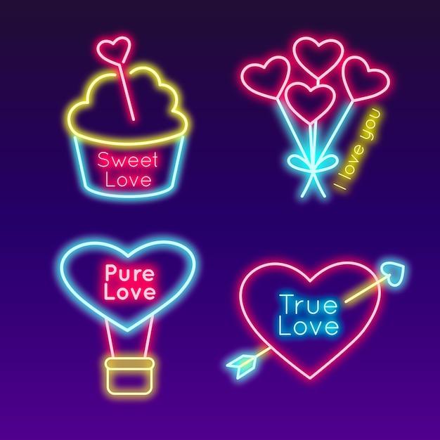 Иконки для концепции день святого валентина Бесплатные векторы