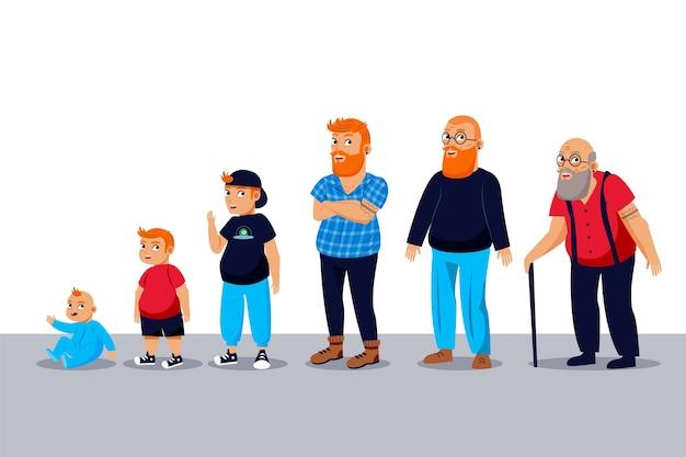 Мужчина в разных возрастах Бесплатные векторы