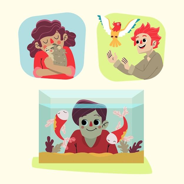 Смешные люди аватар со своими домашними животными Бесплатные векторы