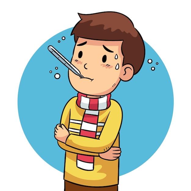 Иллюстрация человека с простудой Бесплатные векторы